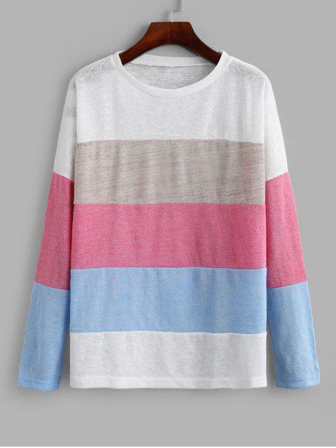chic Color-blocking Drop Shoulder Contrast Knitwear - MULTI-A S Mobile