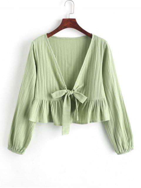 womens Ruffle Hem Knotted V Neck Crop Blouse - GREEN L Mobile