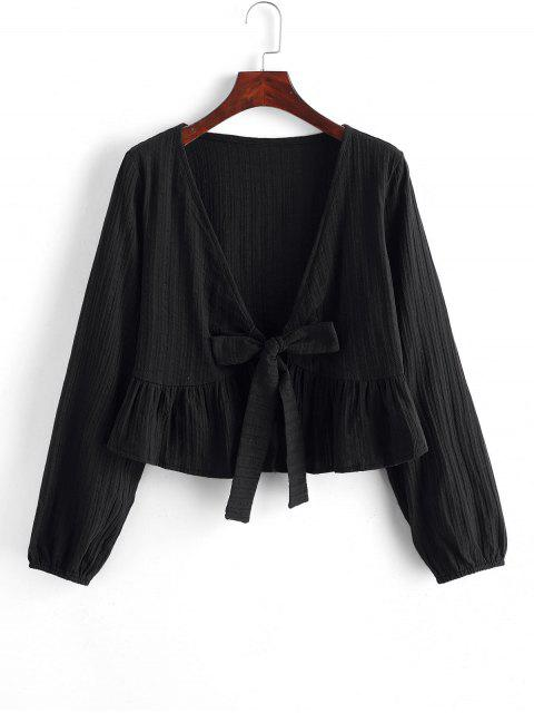 ladies Ruffle Hem Knotted V Neck Crop Blouse - BLACK M Mobile