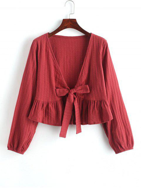 shop Ruffle Hem Knotted V Neck Crop Blouse - RED WINE M Mobile