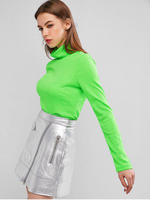 hot Neon High Neck Ribbed Slim Knitwear - JADE GREEN M Mobile