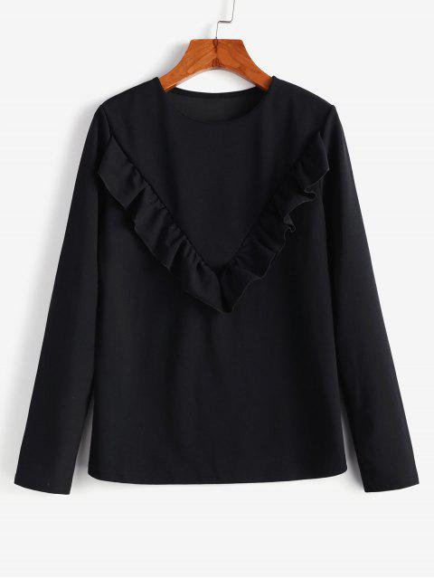 lady Flounce Long Sleeves Blouse - BLACK XL Mobile