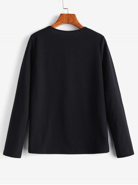 chic Flounce Long Sleeves Blouse - BLACK S Mobile