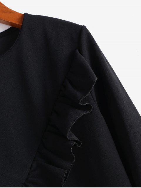 buy Flounce Long Sleeves Blouse - BLACK L Mobile