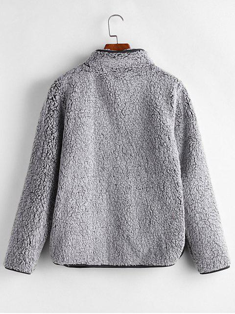 online Half Zip Fuzzy Pocket Sweatshirt - GRAY XL Mobile