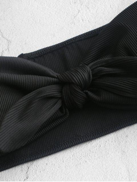 women ZAFUL Textured Ribbed Knot Bandeau Bikini Swimsuit - BLACK S Mobile