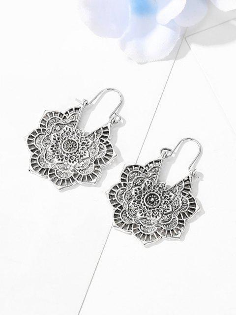 fancy Vintage Alloy Engraved Floral Earrings - SILVER  Mobile