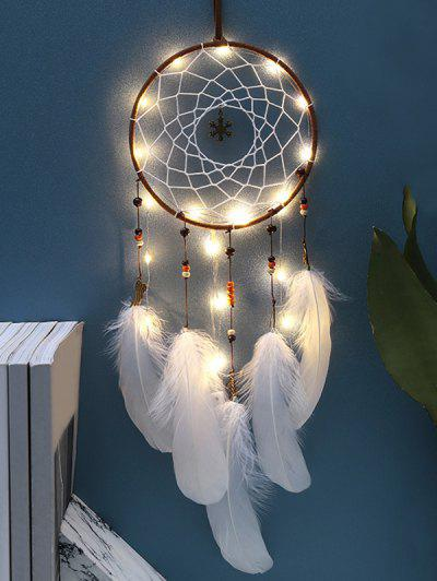Handmade LED Light Christmas Snowflake And Feather Dream Catcher - White With Lights