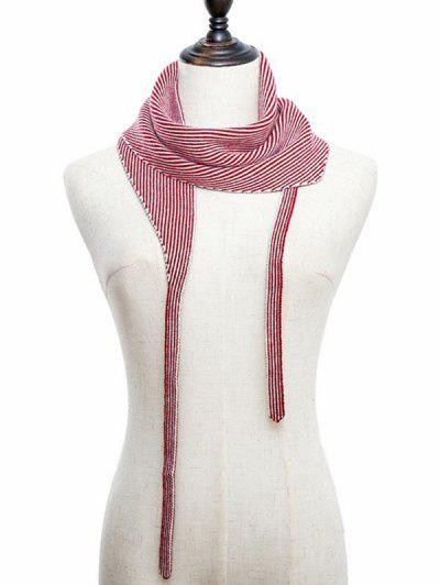 Striped Double Face Knitted Triangle Scarf - Red
