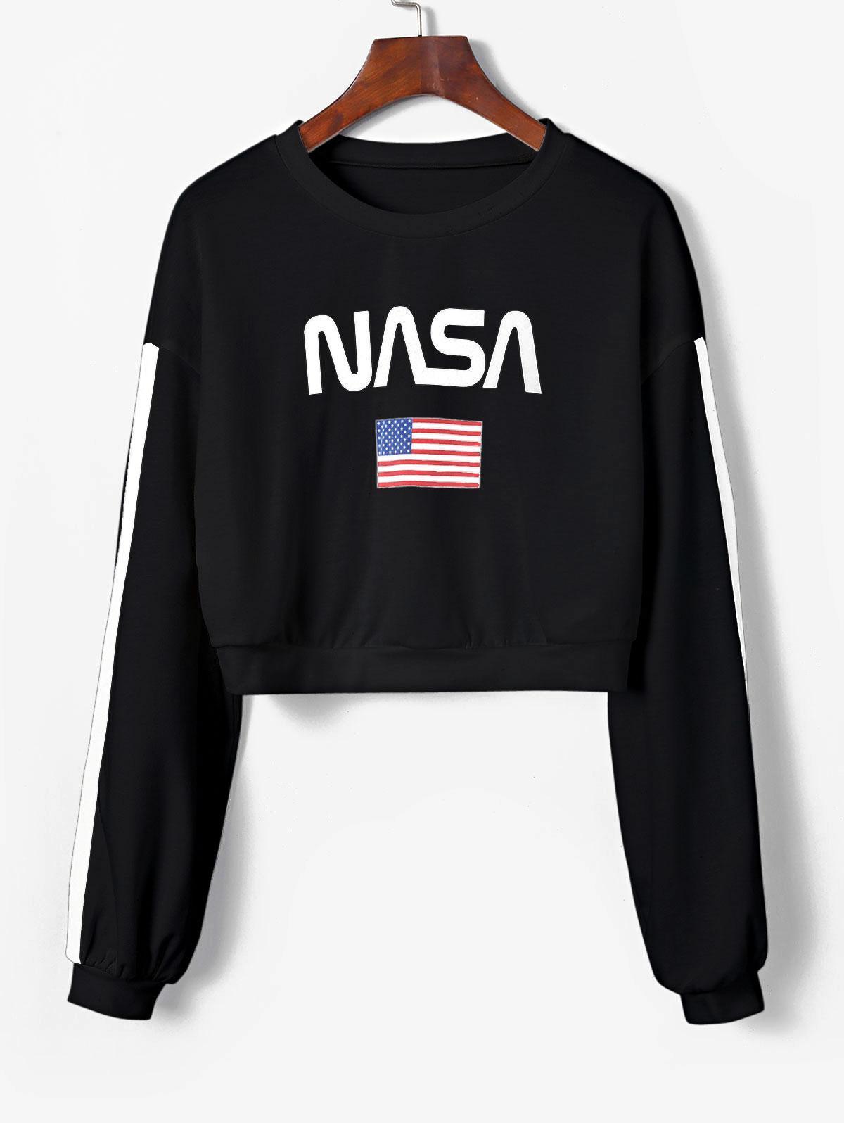 ZAFUL American Flag Tape Sleeve Drop Shoulder Sweatshirt thumbnail
