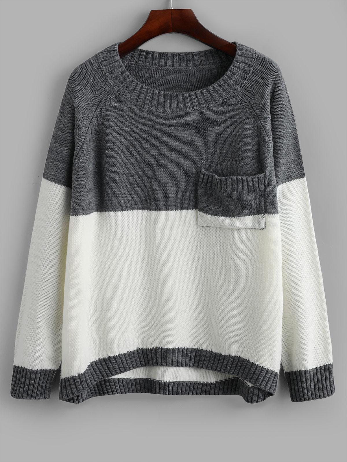 ZAFUL Two Tone High Low Pocket Pullover Sweater фото
