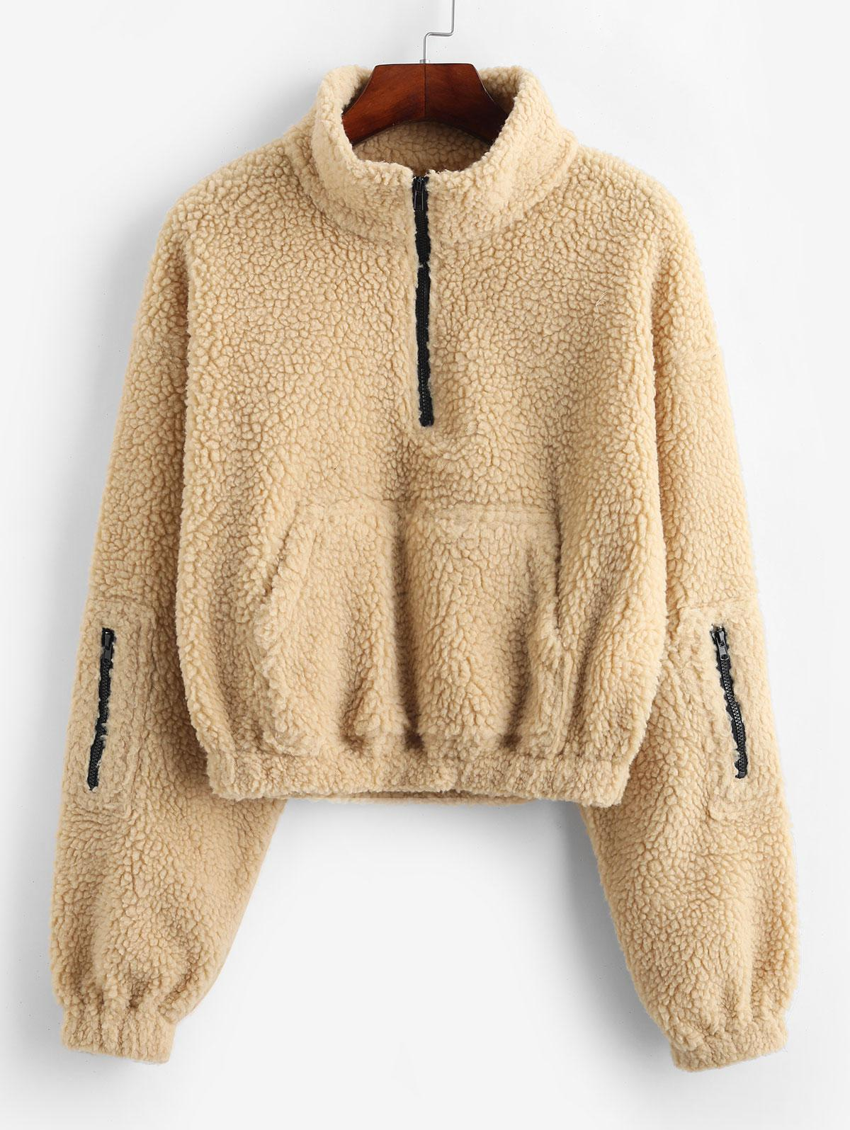 ZAFUL Zip High Neck Kangaroo Pocket Teddy Sweatshirt, Light khaki