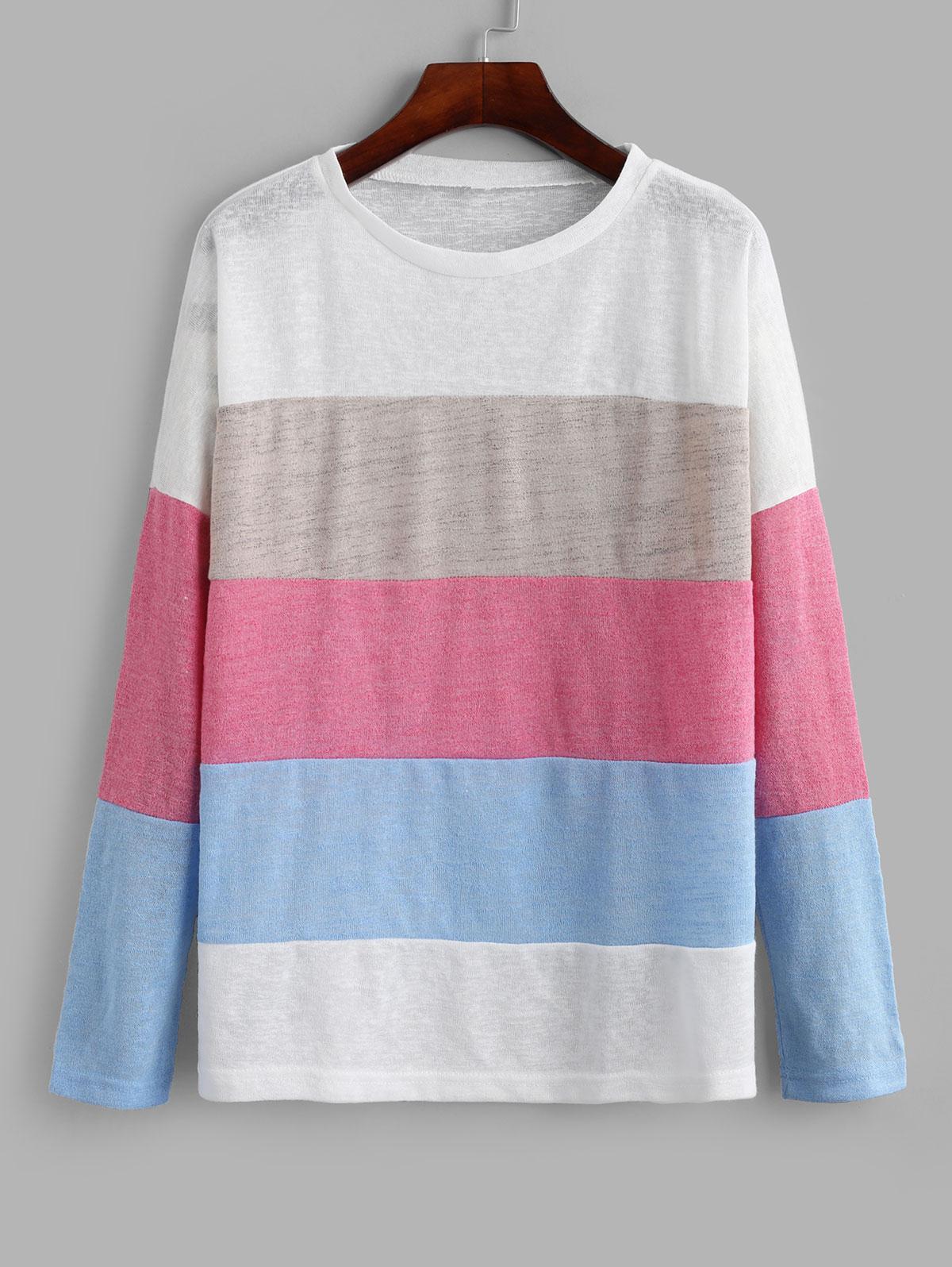 Color-blocking Drop Shoulder Contrast Knitwear