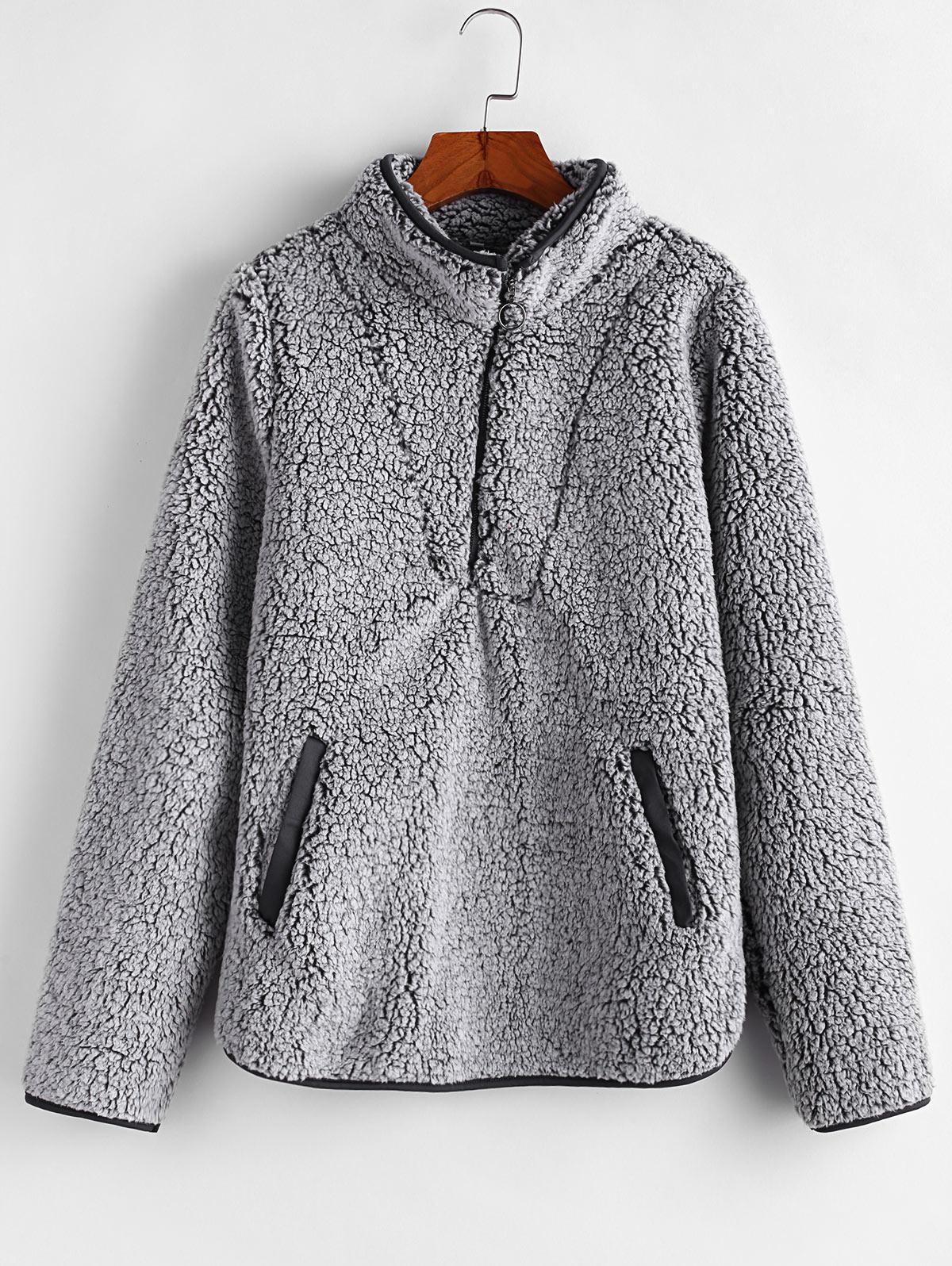 Half Zip Fuzzy Pocket Sweatshirt