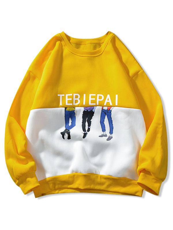 Letter Cartoon Character Two Tone Panel Spliced Fleece Sweatshirt, Rubber ducky yellow