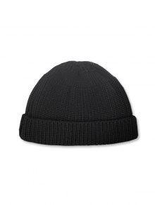 عارضة جولة الأعلى محبوك النسيج الشتاء قبعة الناعمة - أسود