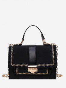 بو حقيبة الكتف الألوان المتناقضة مربع - أسود