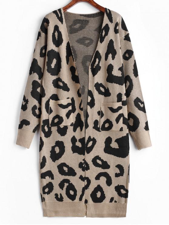 Cárdigan con hombros descubiertos y bolsillo de leopardo - Beige XL