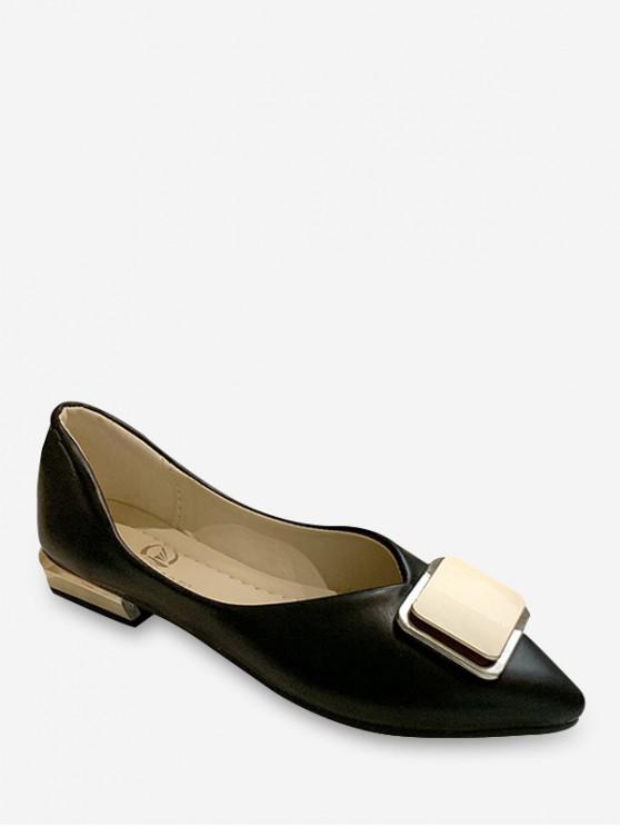 womens Square Buckle Pointed Toe Flat Shoes - BLACK EU 40