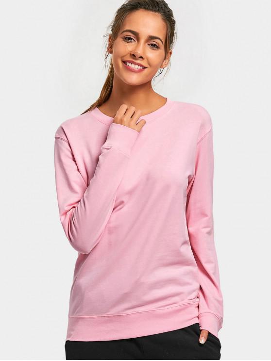 women's Casual Plain Sweatshirt - PINK XL