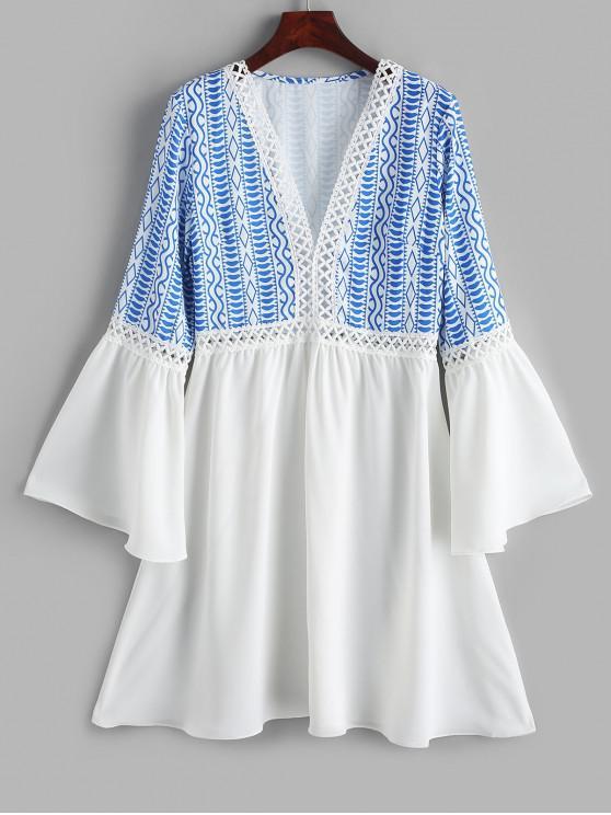new ZAFUL Flare Sleeve Printed Lace Panel Mini Dress - WHITE XL
