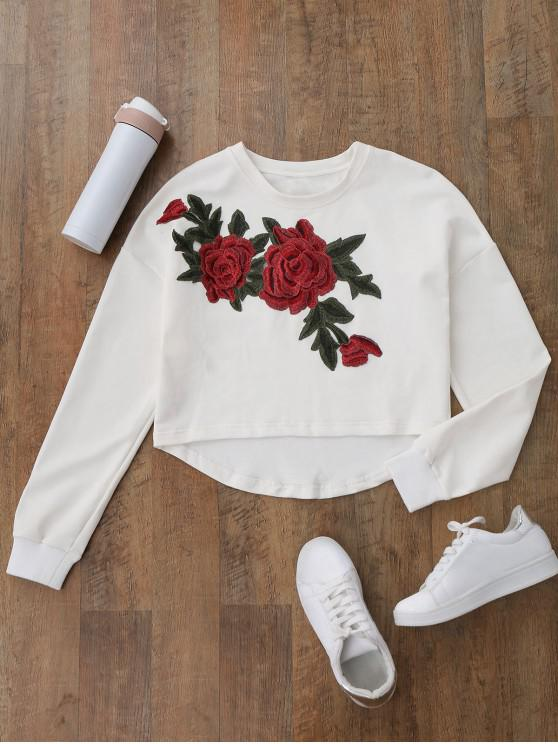 latest High Low Floral Applique Sweatshirt - WHITE M