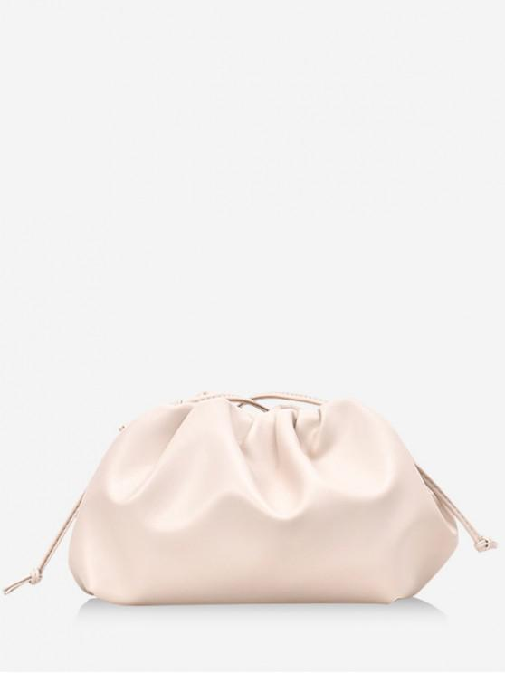 women Solid Color Drape Decoration Crossbody Bag - WHITE