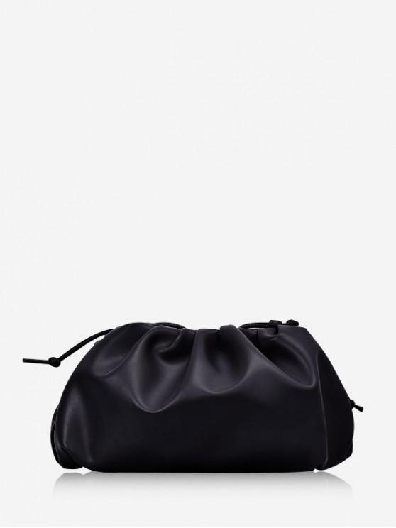Bandolera de color sólido drapeado decoración - Negro