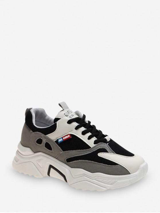 new Pinhole Mesh Trim Casual Dad Sneakers - BLACK EU 39