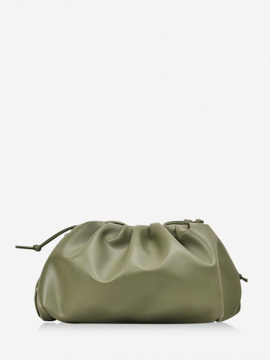 trendy Solid Color Drape Decoration Crossbody Bag - FERN GREEN