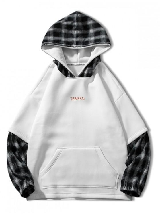 hot Letter Print Plaid Splicing Faux Twinset Fleece Hoodie - WHITE XL