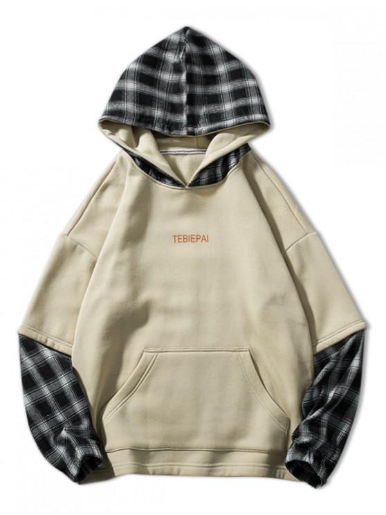 outfits Letter Print Plaid Splicing Faux Twinset Fleece Hoodie - BEIGE 3XL