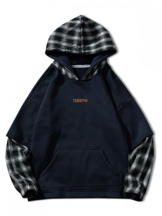 Brief drucken Plaid Spleißen Faux Twinset Fleece Hoodie - Tiefes Blau XL