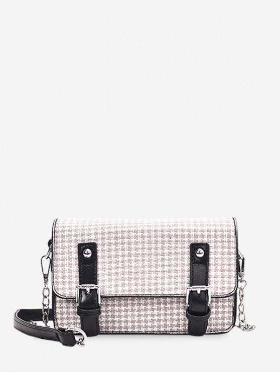 buy Houndstooth Pattern Double Buckle Design Shoulder Bag - KHAKI