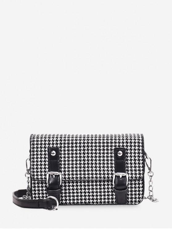 unique Houndstooth Pattern Double Buckle Design Shoulder Bag - BLACK
