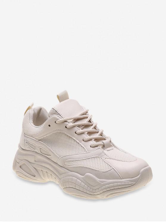 รองเท้าผ้าใบผูกเชือก Lace Up Mesh PU - ผ้าขนสัตว์สีธรรมชาติ สหภาพยุโรป 38