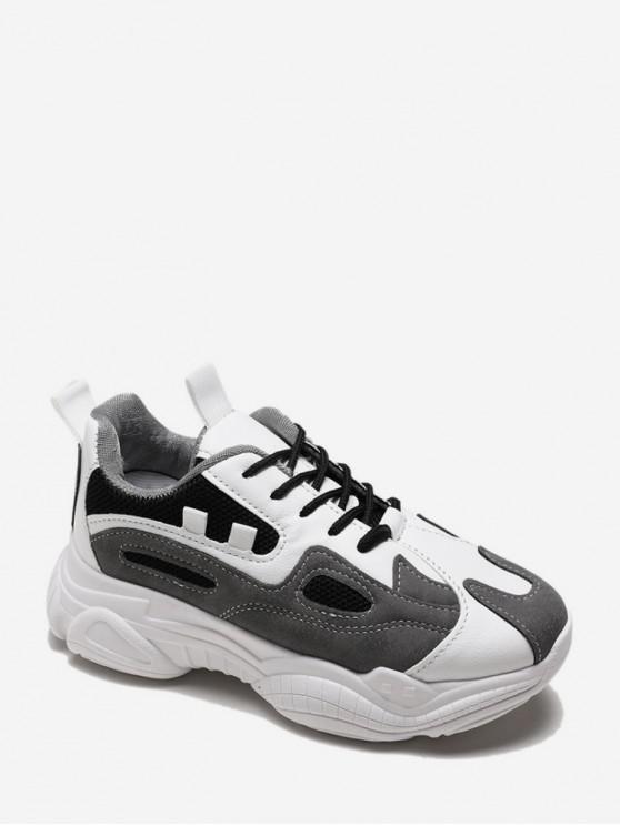 ladies Lace Up Mesh Panel PU Platform Sneakers - BLACK EU 36