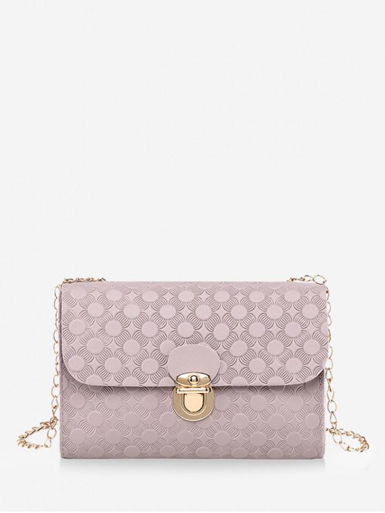 new Cover Hasp Embossed Chain Shoulder Bag - MAUVE