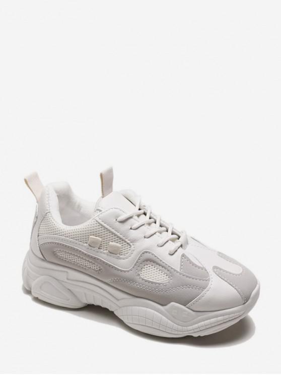 fancy Lace Up Mesh Panel PU Platform Sneakers - BEIGE EU 38