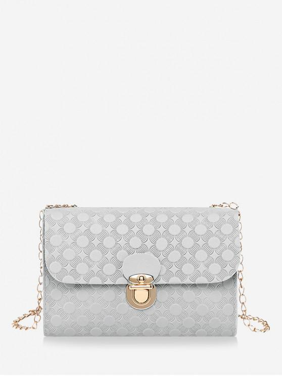 outfit Cover Hasp Embossed Chain Shoulder Bag - PLATINUM