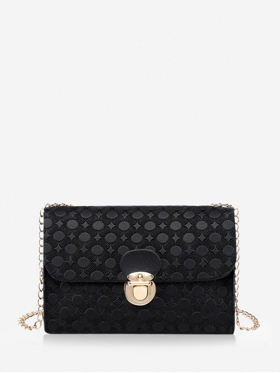 shop Cover Hasp Embossed Chain Shoulder Bag - BLACK