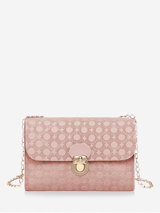 Bolso de hombro con cadena en relieve de cerrojo de cubierta - Rosa