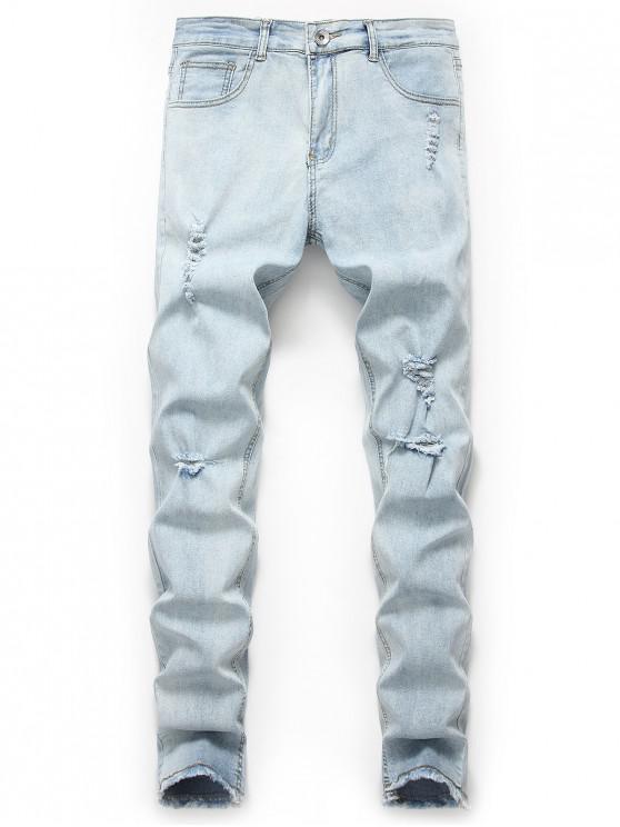 online Ripped Design Frayed Hem Casual Jeans - JEANS BLUE L