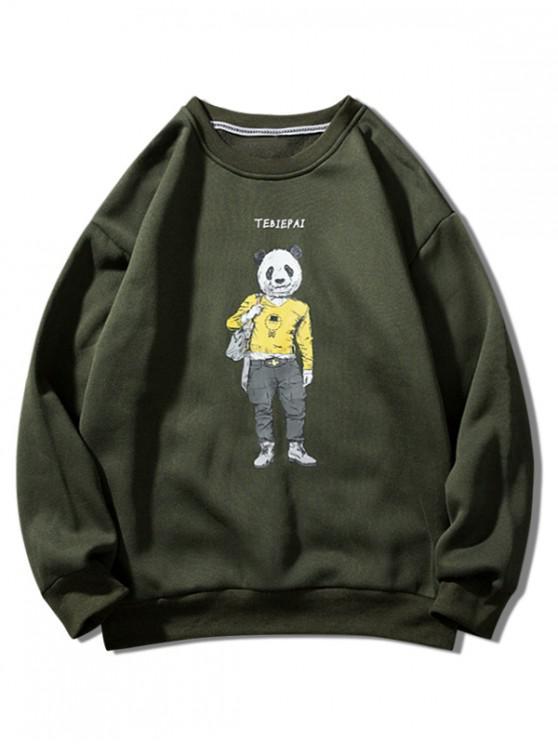 women's Panda Character Letter Print Crew Neck Fleece Sweatshirt - ARMY GREEN L