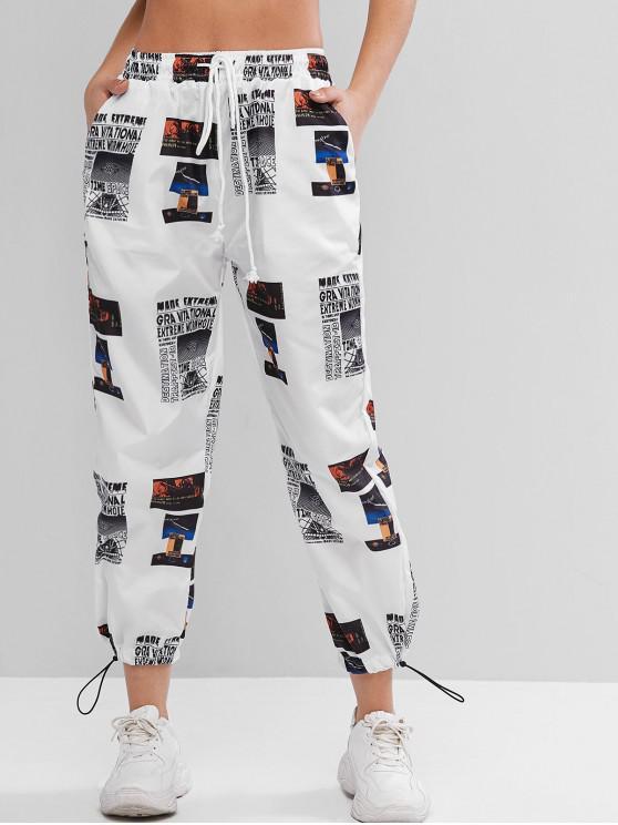 Pantalones de chándal rompevientos estampados de tiro medio - Multicolor-A XL