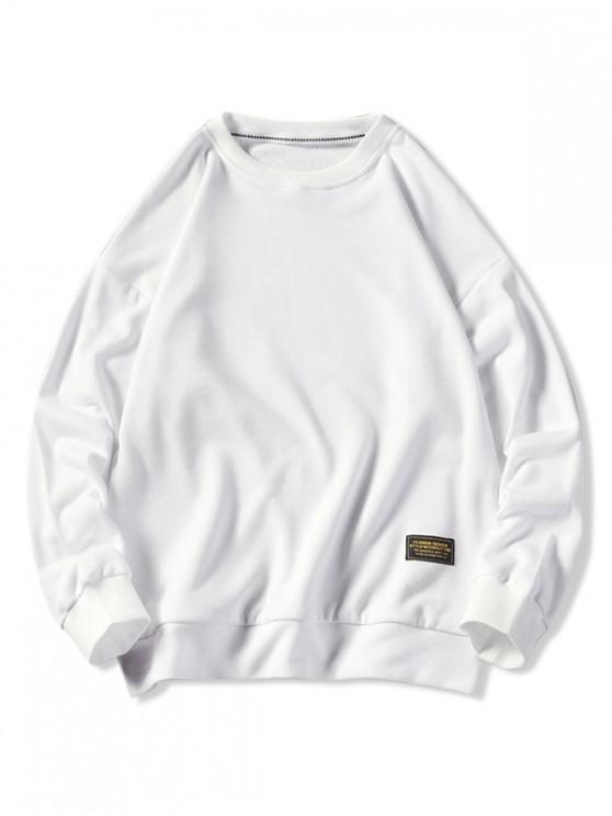 shop Graphic Printed Casual Fuzzy Sweatshirt - WHITE M