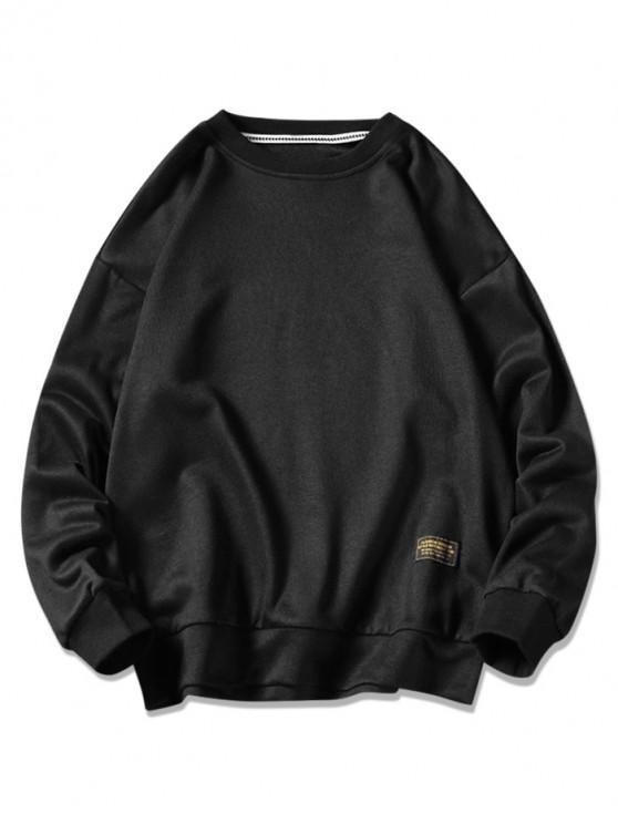 chic Graphic Printed Casual Fuzzy Sweatshirt - BLACK M