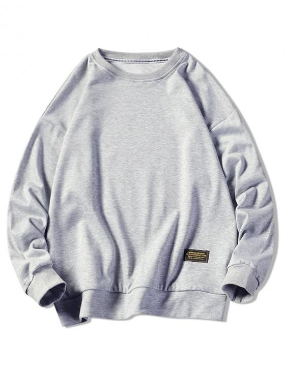 online Graphic Printed Casual Fuzzy Sweatshirt - LIGHT GRAY XL