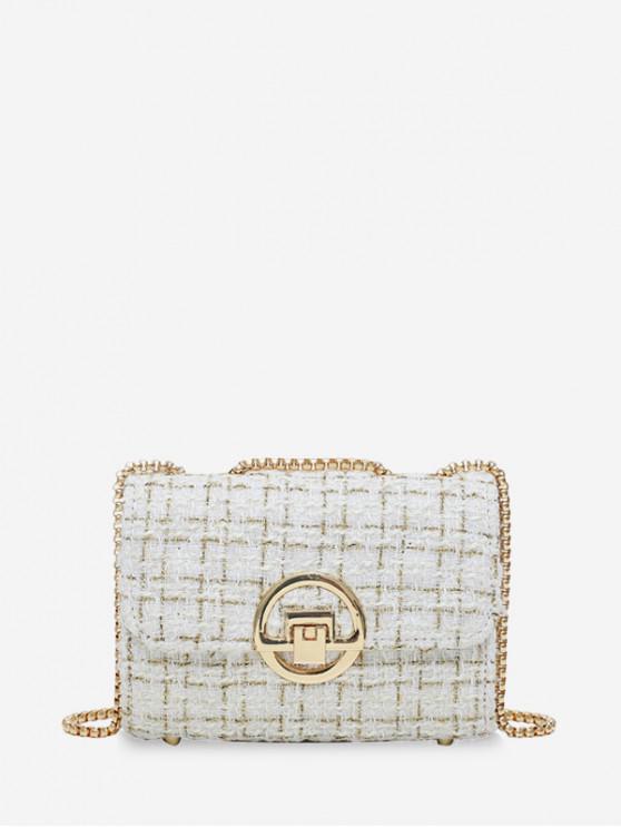 chic Woollen Grid Pattern Hasp Design Chain Square Shoulder Bag - WHITE