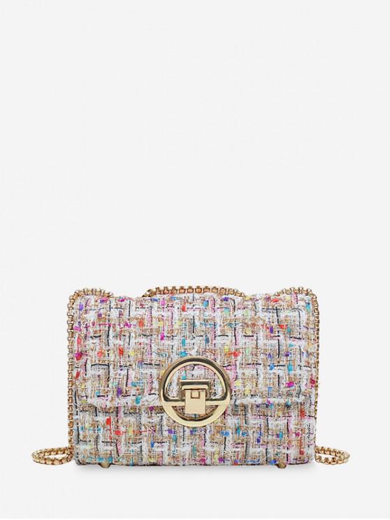 Bolso de hombro cuadrado de cadena de diseño de cerrojo de patrón de rejilla de lana - Multicolor-A